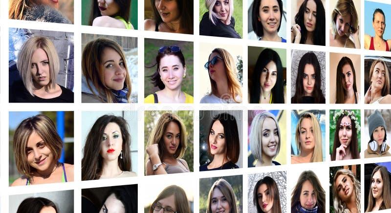 Retratos del grupo del collage de las muchachas caucásicas jovenes para el medi social foto de archivo libre de regalías