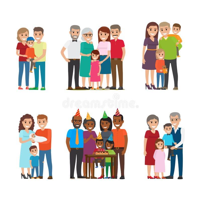 Retratos del grupo del sistema feliz del vector de las familias stock de ilustración