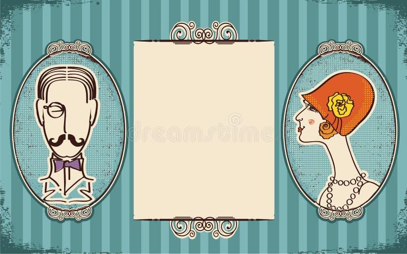 Retratos del hombre y de la mujer. Retro ilustración del vector