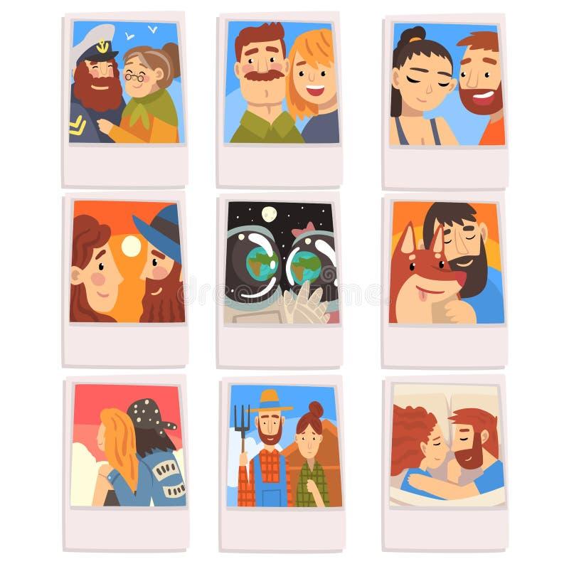 Retratos del sistema feliz de la gente, fotos de pares románticos, familias, dueño masculino y su ejemplo del vector del perro ca stock de ilustración