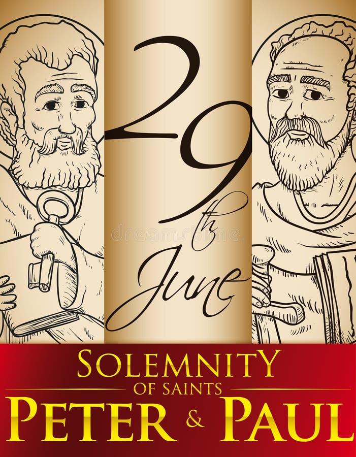 Retratos dibujados mano para la solemnidad de los santos Peter y Paul, ejemplo del vector stock de ilustración