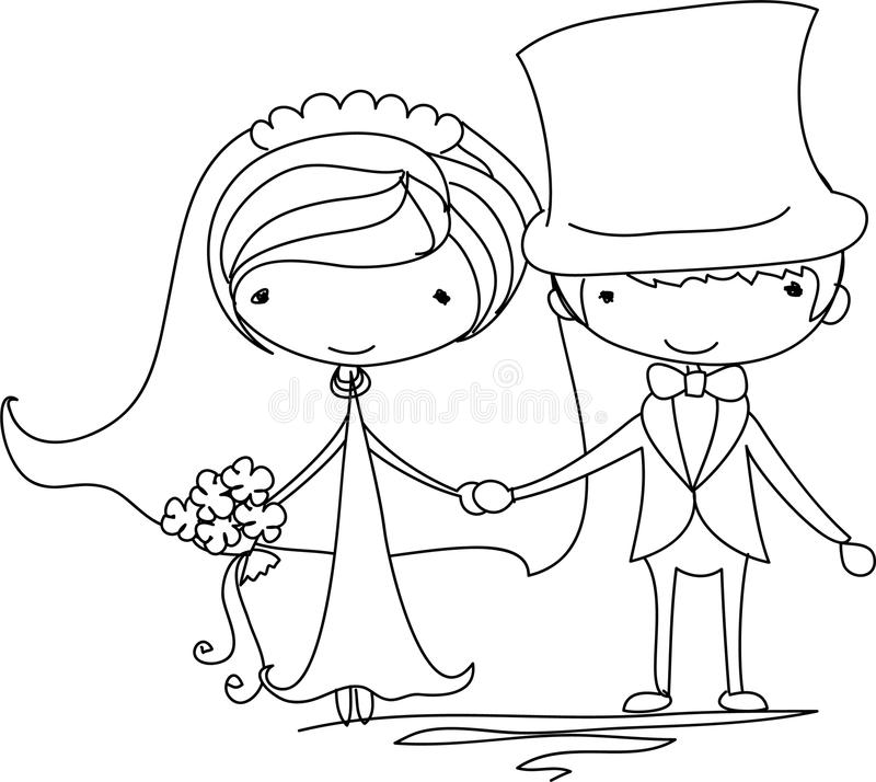 Retratos do casamento, vetor ilustração royalty free