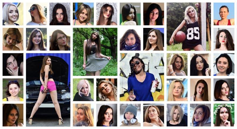 Retratos do grupo da colagem de meninas caucasianos novas para o medi social imagens de stock royalty free