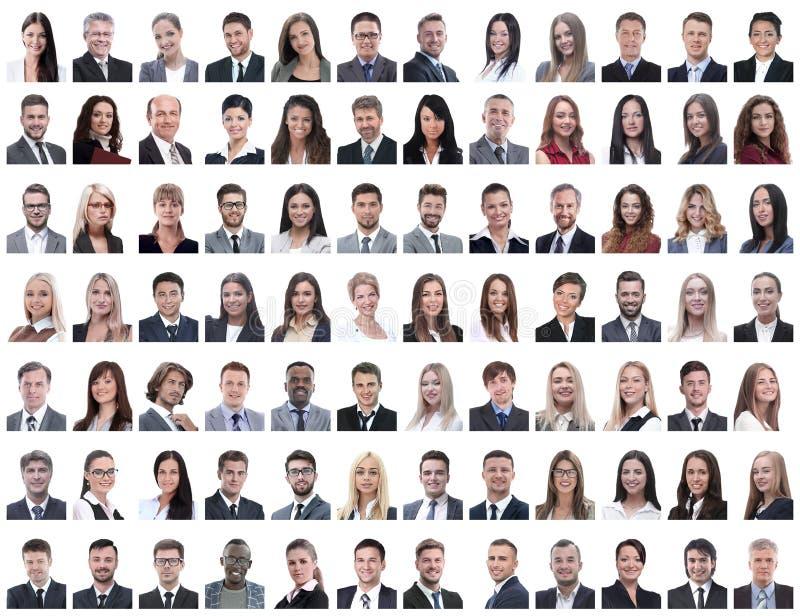 Retratos dos empregados bem sucedidos isolados em um branco foto de stock