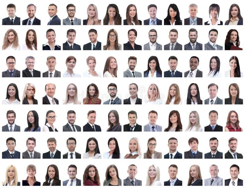 Retratos dos empregados bem sucedidos isolados em um branco fotografia de stock