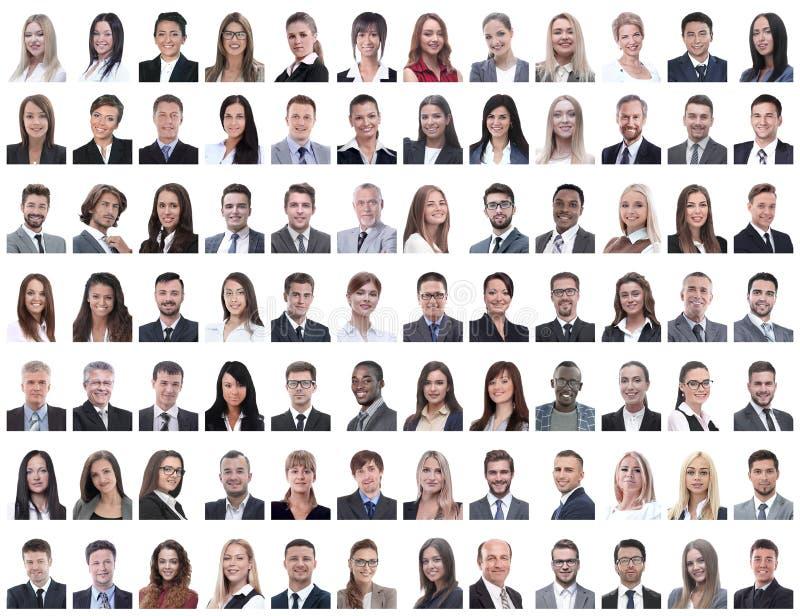 Retratos dos empregados bem sucedidos isolados em um branco imagem de stock