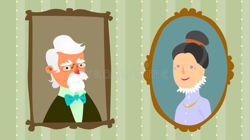 Retratos dos grandparents ilustração stock