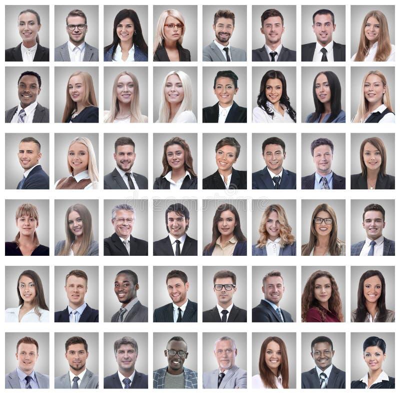 Retratos dos homens de negócios novos bem sucedidos isolados no branco fotos de stock