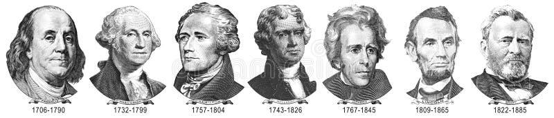 Retratos dos presidentes dos dólares ilustração do vetor