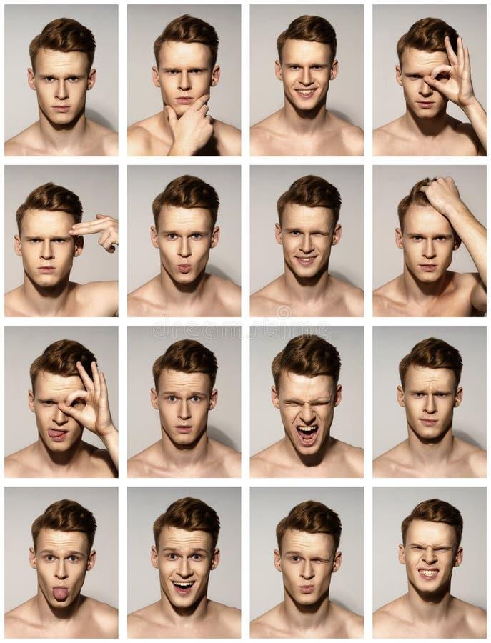 Retratos emocionales del hombre fijados fotos de archivo