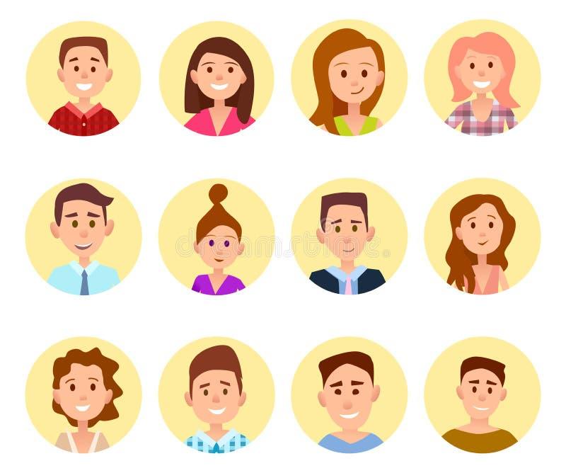 Retratos felizes das crianças dos desenhos animados nos círculos ajustados ilustração royalty free