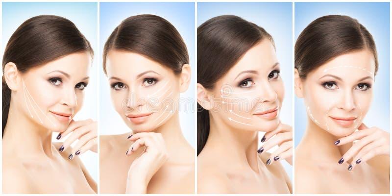 Retratos femeninos hermosos, sanos y jovenes Collage de diversas caras de las mujeres Elevación de cara, skincare, cirugía plásti imágenes de archivo libres de regalías