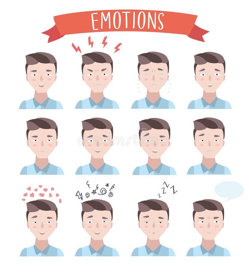 Retratos hermosos de las emociones del hombre ilustración del vector