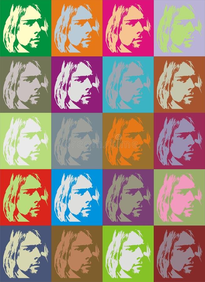 Retratos lacónicos de Cobain ilustração royalty free