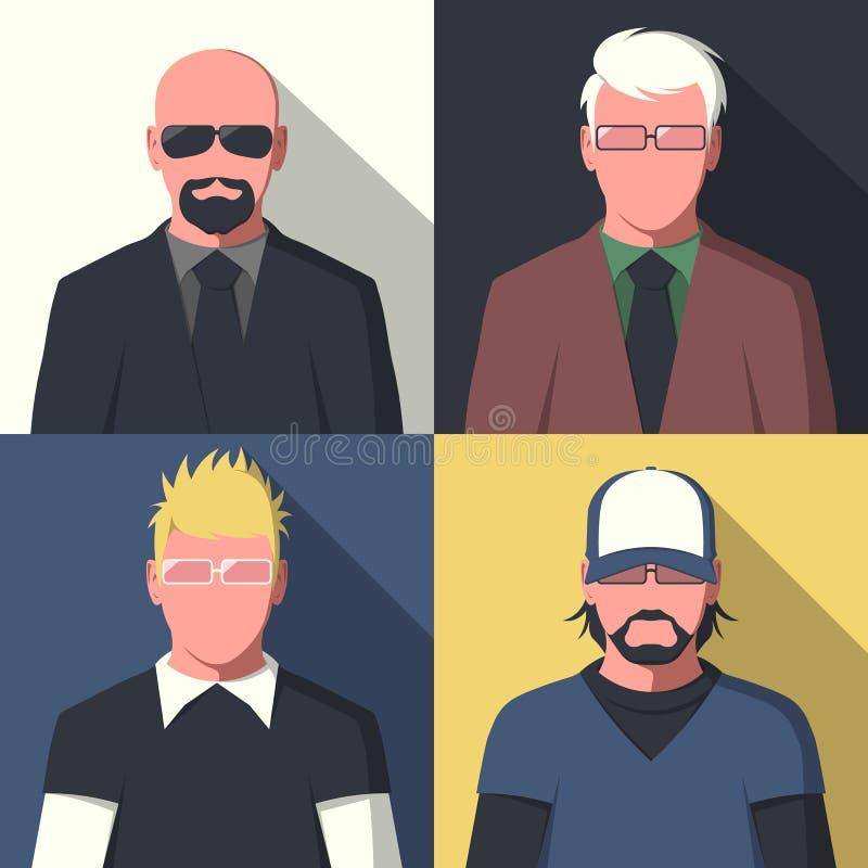 Retratos lisos do avatar ilustração stock
