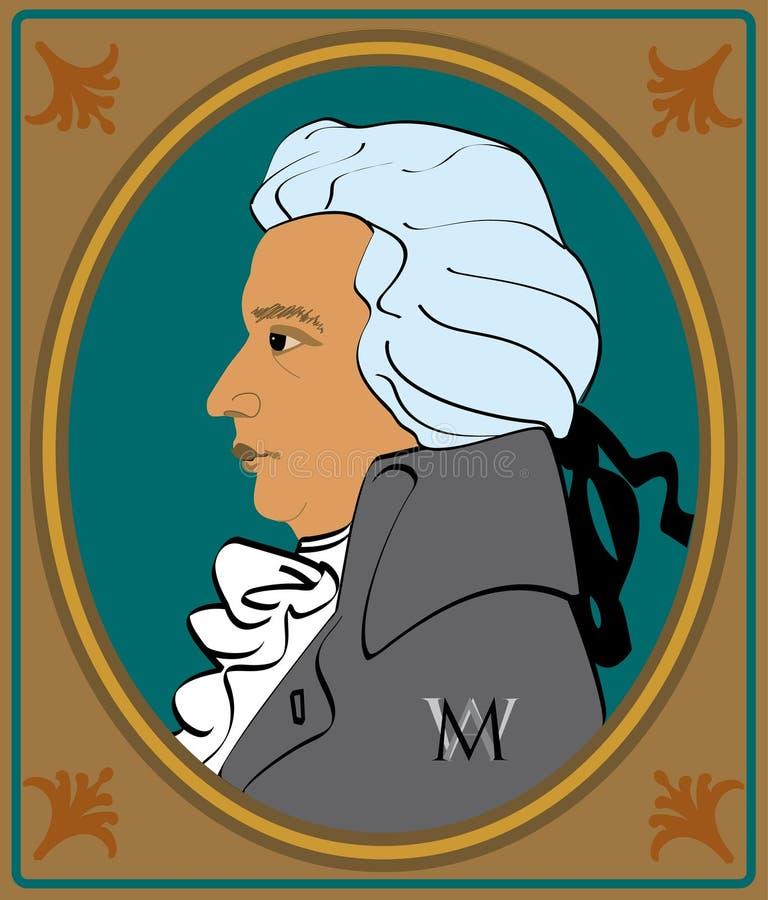 Retratos Mozart ilustración del vector