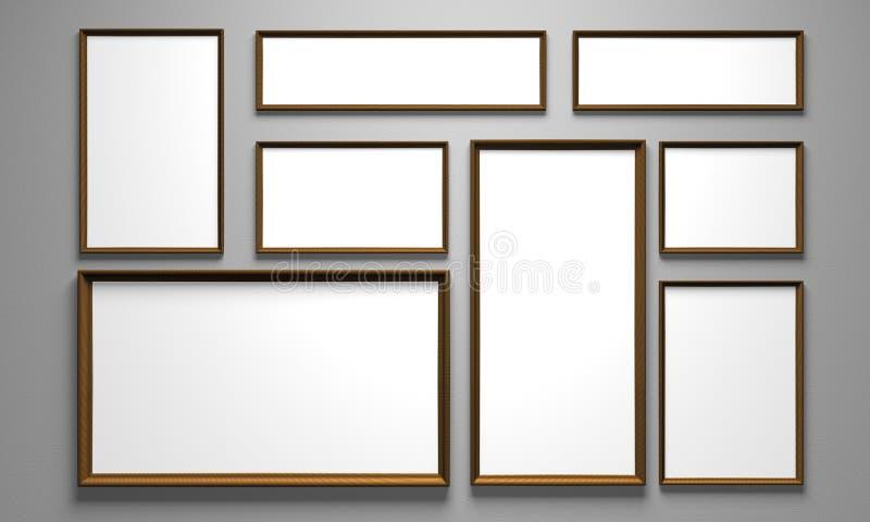 Retratos na parede ilustração stock