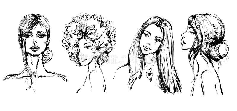 Retratos preto e branco das meninas da forma bonita no estilo esboçado ilustração stock