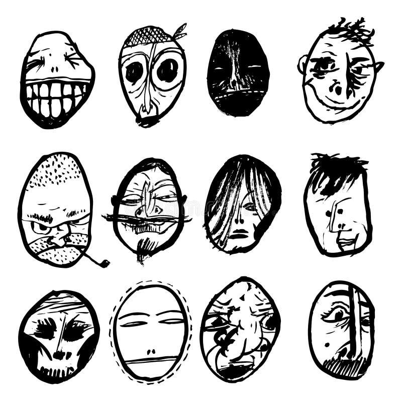 Retratos preto e branco dos caráteres Gráficos apropriados para avatars ou materiais impressos ilustração royalty free