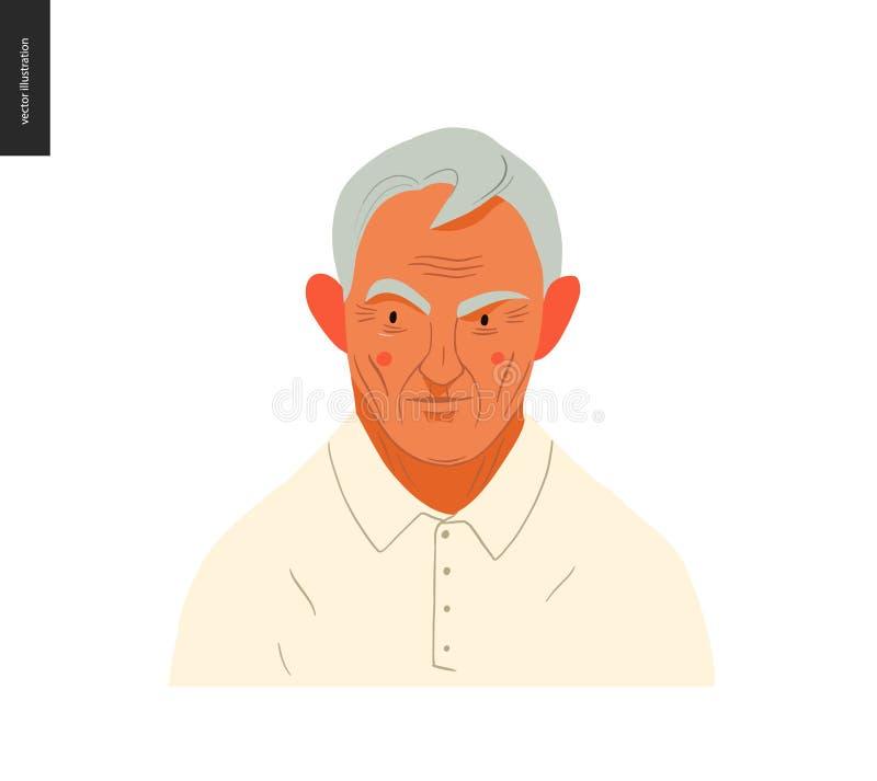 Retratos reales de la gente - hombre gris-cabelludo ilustración del vector