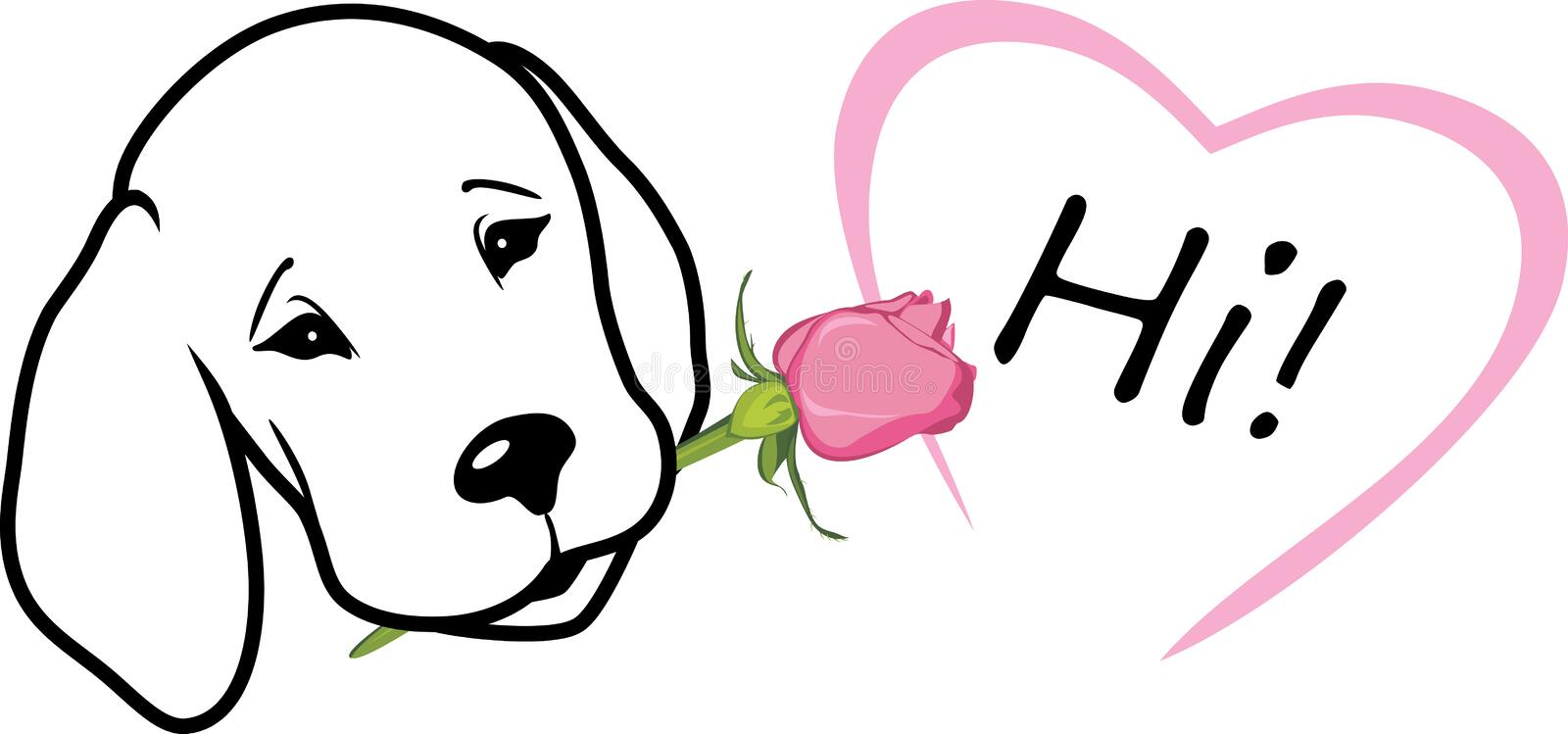 Retriever gives a rose and says hi. T-shirt design royalty free stock image