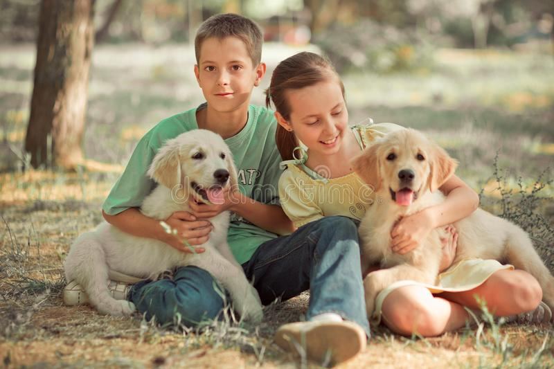 Retriever pup Lovely scene young teen sister brother enjoy posing summer time vacation with best friend dog ivory white labrador p royalty free stock photo