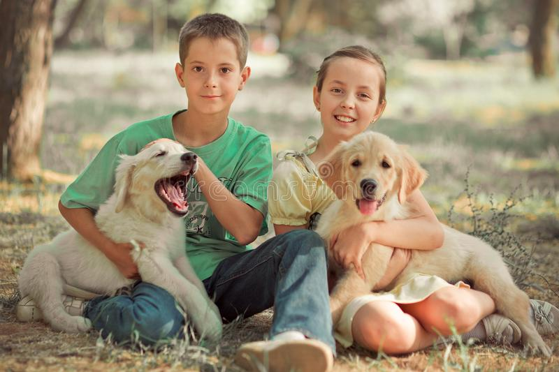 Retriever pup Lovely scene young teen sister brother enjoy posing summer time vacation with best friend dog ivory white labrador p stock photos