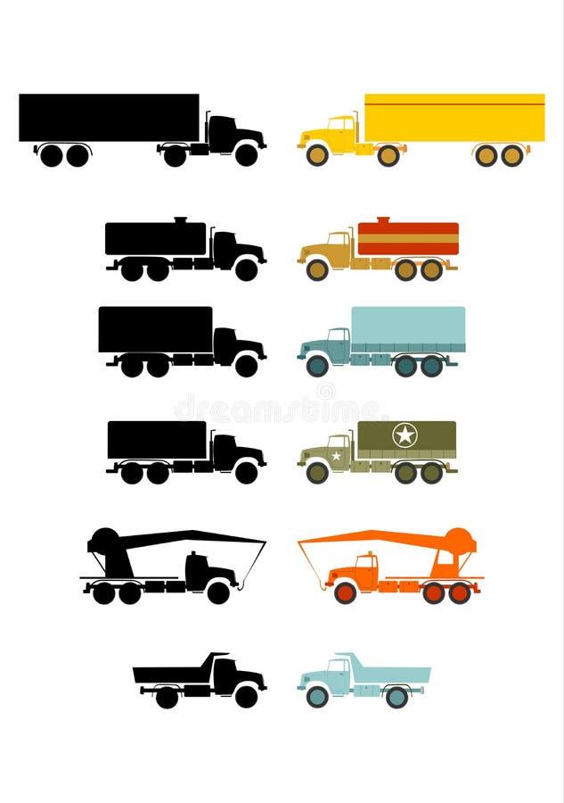 Retro åka lastbil uppsättningen. royaltyfri illustrationer