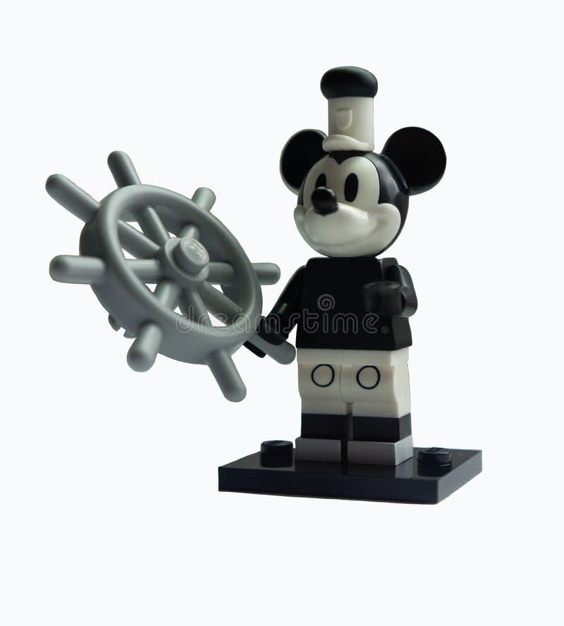 Retro ångbåt Willie Mickey Mouse Lego Disney royaltyfria foton
