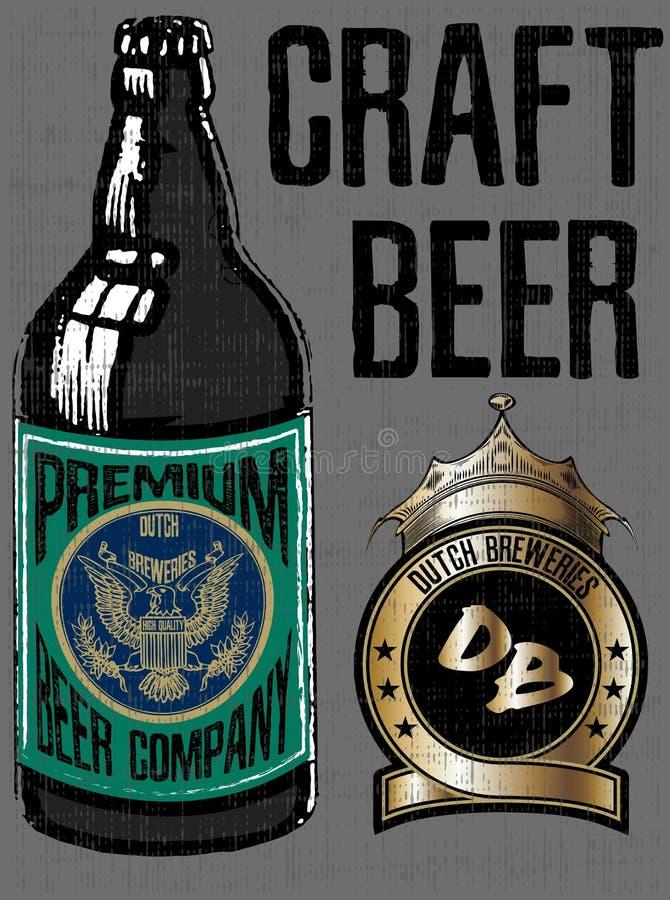 Retro ölvektoraffisch Tappningaffischmall för kallt öl royaltyfri illustrationer