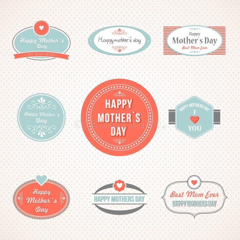 Retro śliczny Szczęśliwy matka dnia etykietki set ilustracji