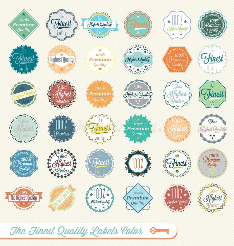 Retro Świetne Etykietki Ilość Majchery i ilustracji