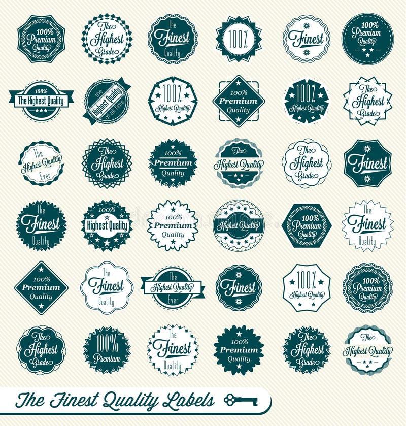 Retro Świetne Etykietki Ilość Majchery i royalty ilustracja