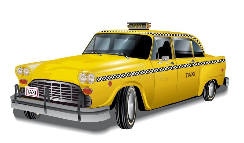 Retro żółty taxi, wektor royalty ilustracja