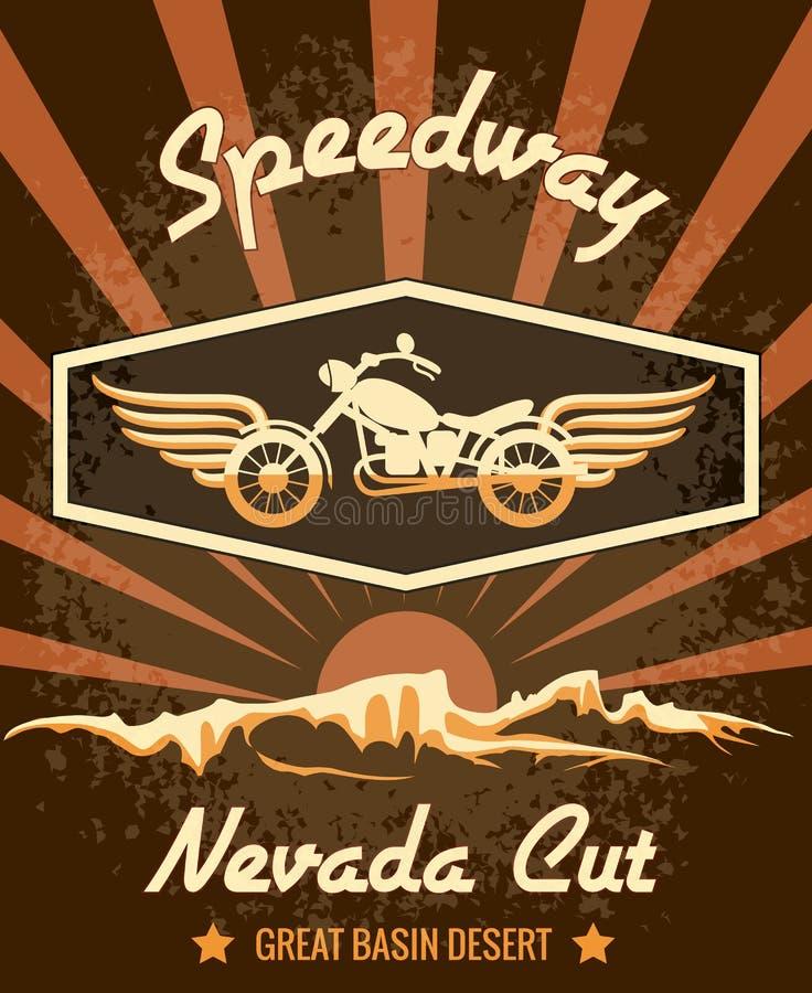 Retro żużlu Nevada Rżnięty Graficzny projekt royalty ilustracja