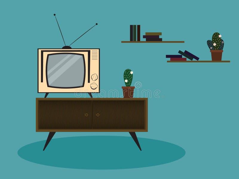 Retro żywa izbowa sceny ilustracja z starym rocznikiem tv, spiżarnią i kaktusem, ilustracja wektor