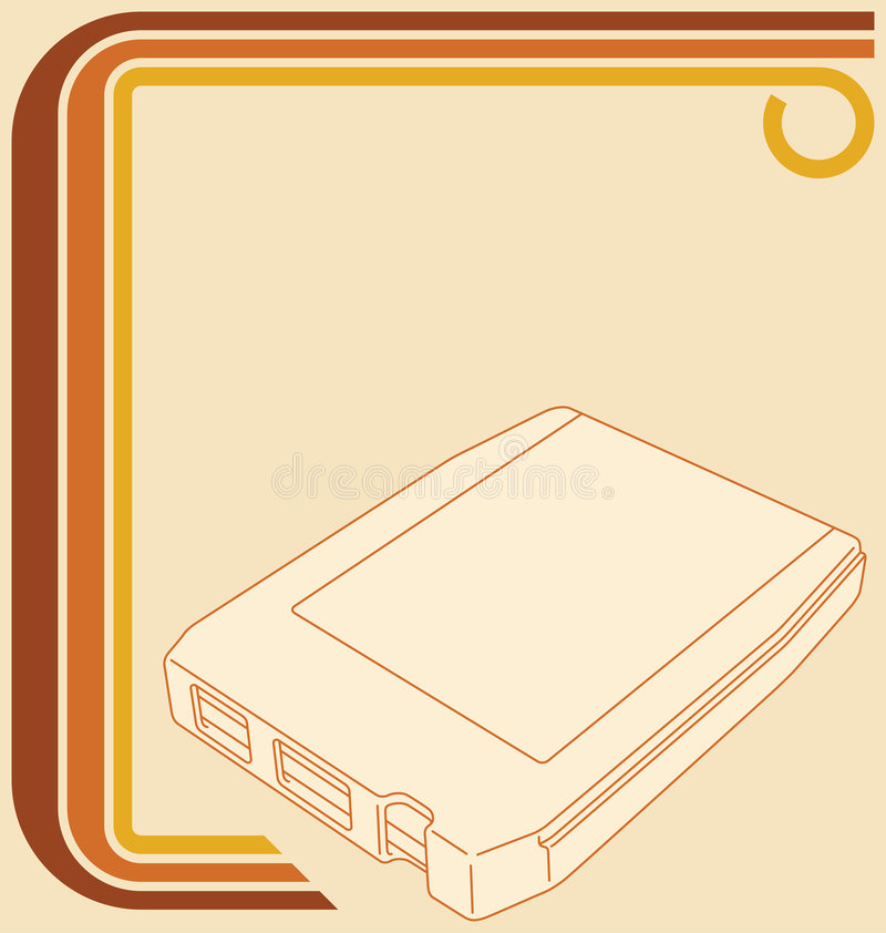 Retro 70s Border With 8-track Tape Stock Photo