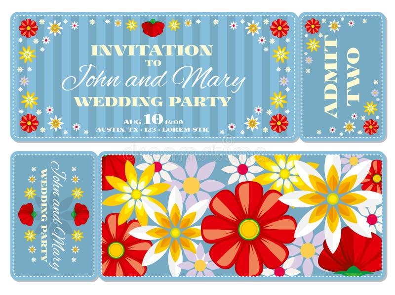 Retro abordaż przepustki zaproszenia biletowy ślubny szablon royalty ilustracja