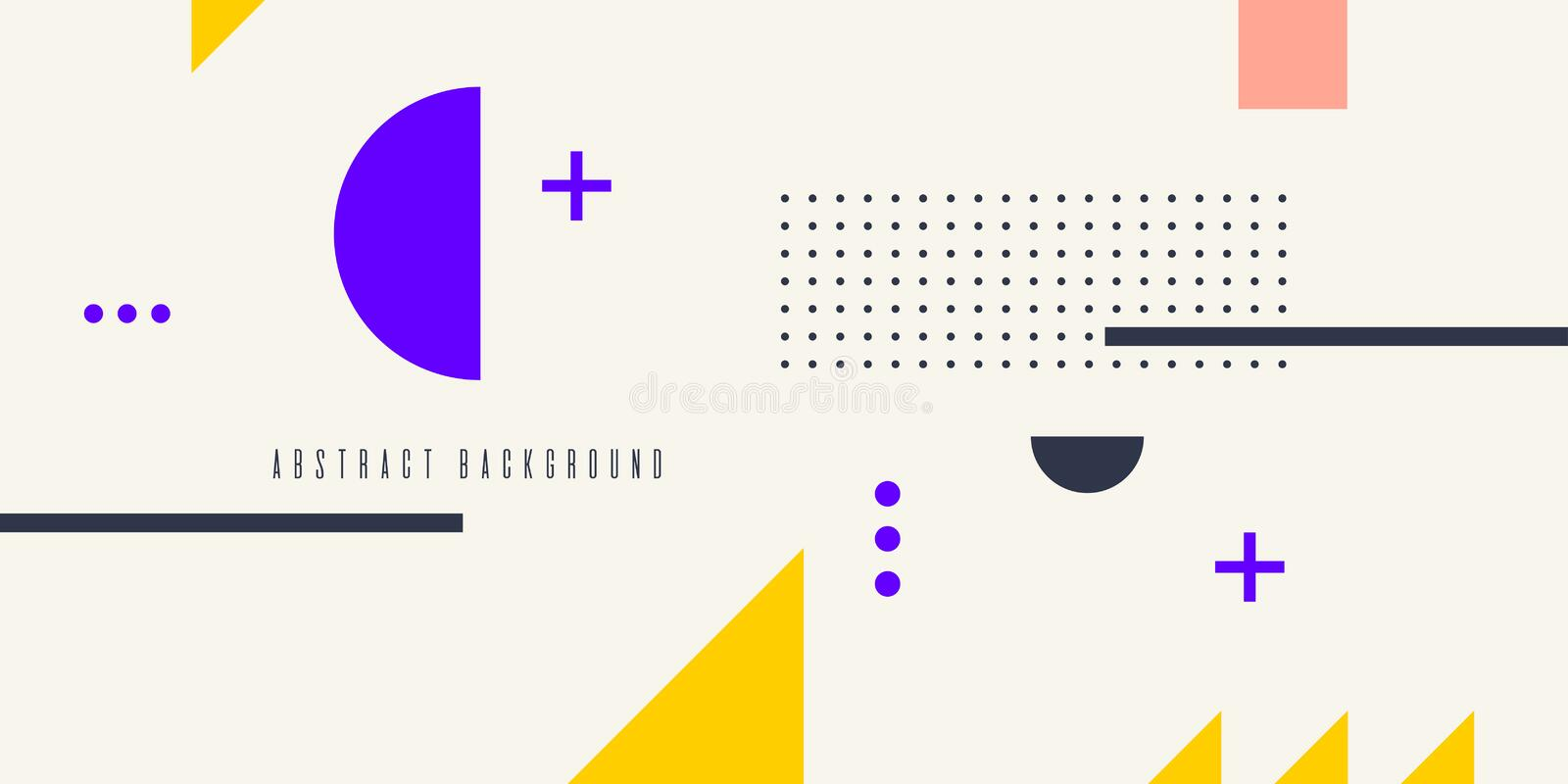Retro abstract geometric background. The poster with the flat figures. royalty free illustration