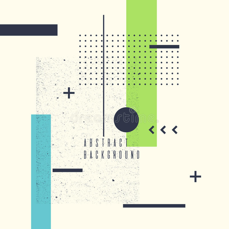 Retro abstract geometric background. The poster with the flat figures. stock illustration