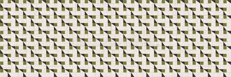 Retro Abstract Grid Mosaic Border Nahtloses Muster Hintergrund des architektonischen Geogrades Retro 1960er Jahre Stil geteerte K lizenzfreie abbildung