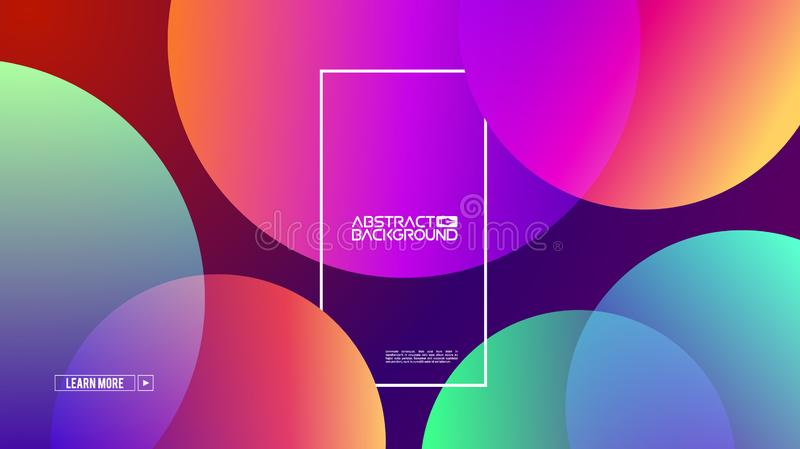 Retro abstract presentation template with colorful circles background on gradient background for website design stock images