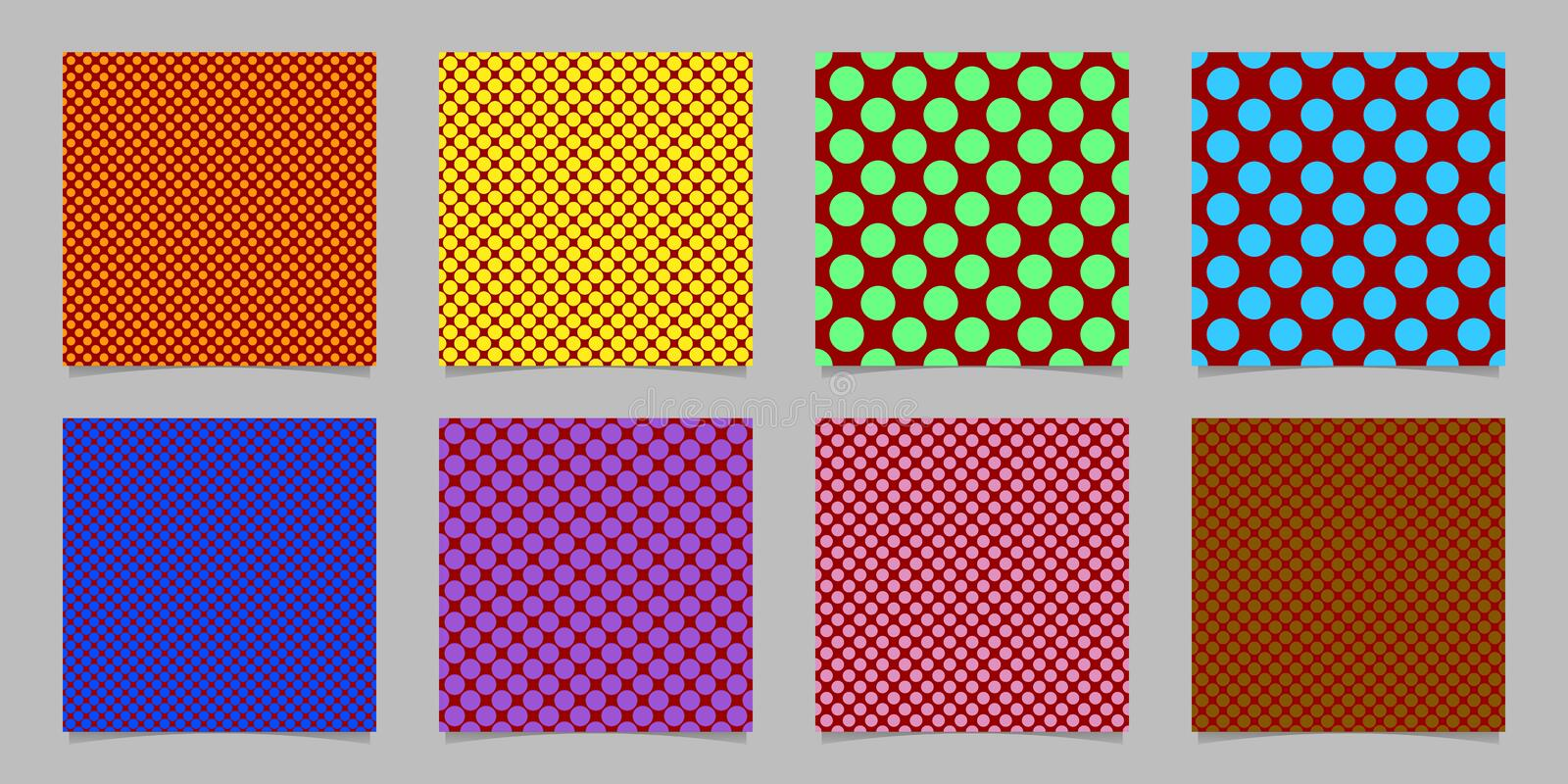 Retro abstract seamless polka dot background pattern template set - vector collection from colored circles royalty free illustration