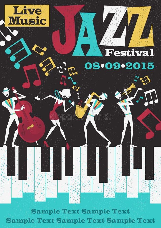 Retro Abstrakcjonistyczny festiwalu jazzowego plakat ilustracja wektor