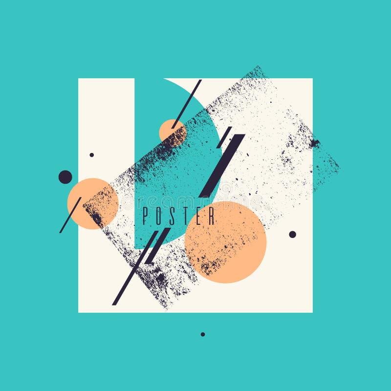 Retro abstrakcjonistyczny geometryczny tło Plakat z płaskimi postaciami ilustracji