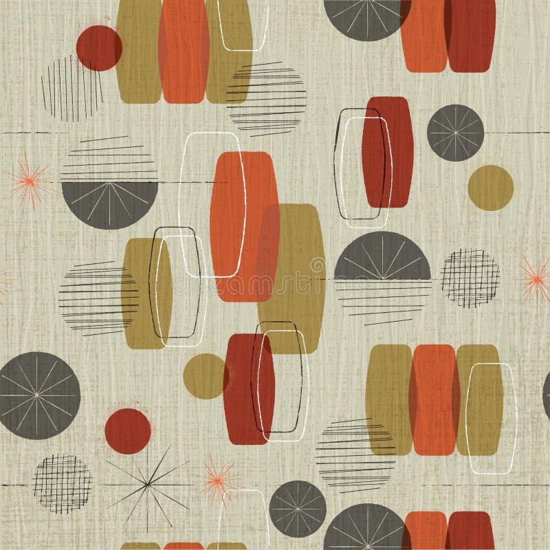 Retro Abstrakcjonistyczny Tekstylny tło z grunge narzutą royalty ilustracja