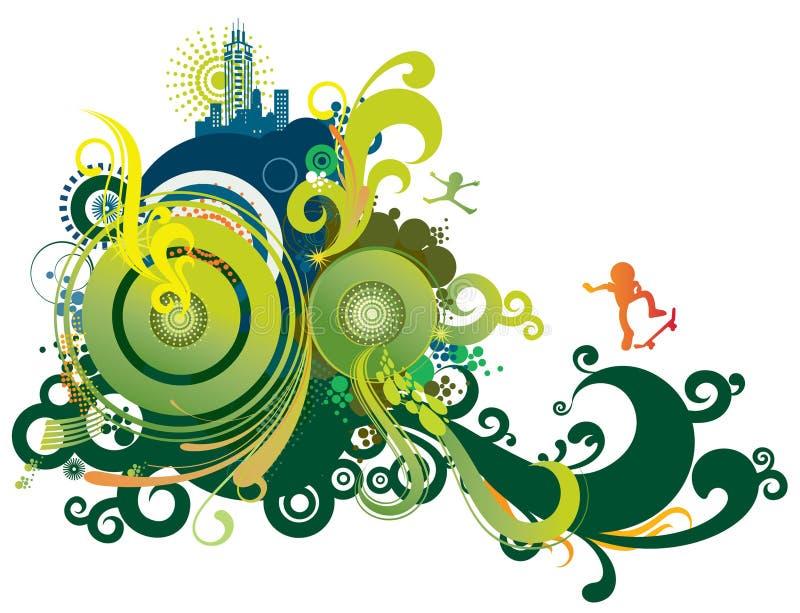 retro abstrakt blå green royaltyfri illustrationer