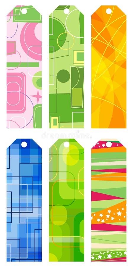 retro abstrakt bokmärkear stock illustrationer