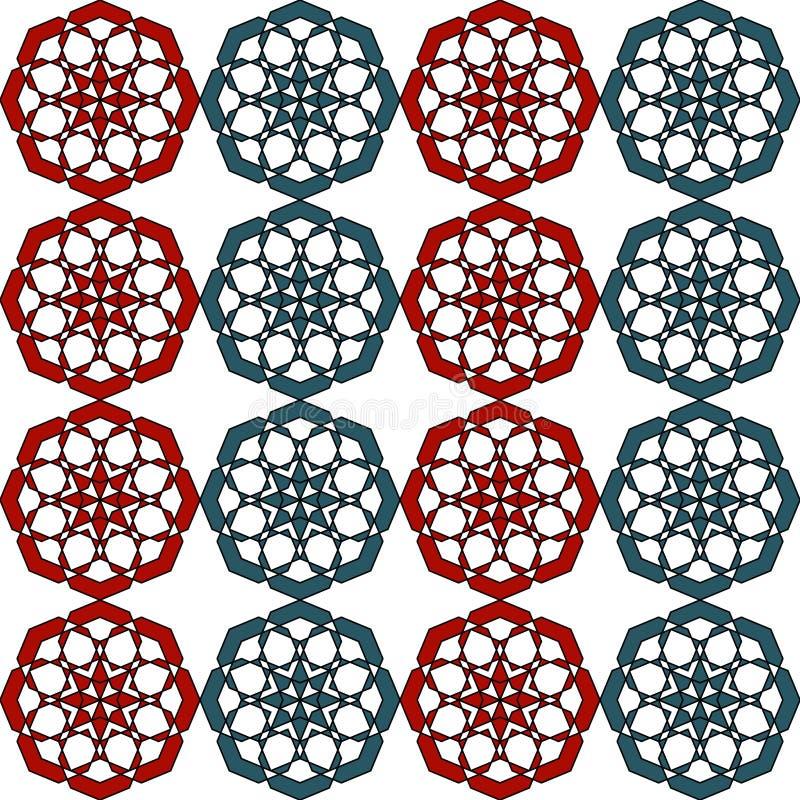 Retro abstrakt konst för sömlös geometrisk afrikansk arabisk asiatisk orientalisk tappning för vektormodellbakgrund färgrik stock illustrationer