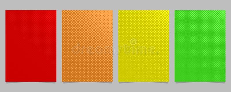 Retro abstrakt rastrerad uppsättning för mall för cirkelmodellreklamblad - diagram för vektorbroschyrbakgrund med kulöra prickar royaltyfri illustrationer